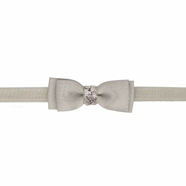 Your Little Miss Baby hairband with double bow gray sparkle