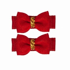 Your Little Miss Set of baby hair clips red sparkle
