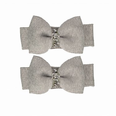 Your Little Miss Set of baby hair clips gray sparkle
