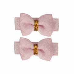 Your Little Miss Set of baby hair clips pink sparkle