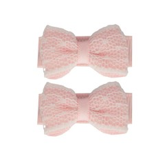 Your Little Miss Baby hair clips light pink lace
