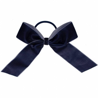 Your Little Miss Hair bow with elastic navy velvet