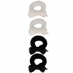 Setje van 4 kleine elastiekjes zwart wit