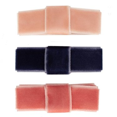 Your Little Miss Set of hair clips pink & blue velvet