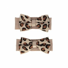 Your Little Miss Baby hair clips leopard tan