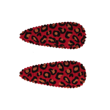 Your Little Miss Leopard print baby haarspeldjes red