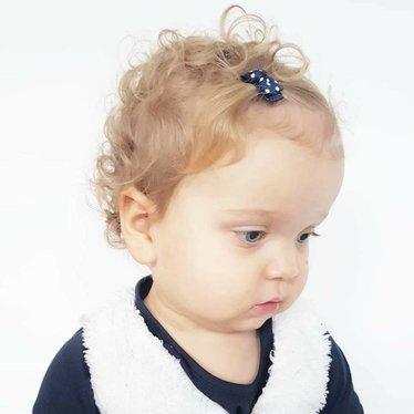 Your Little Miss Fermagli per neonate blu con fiocco e a pallini