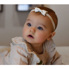 Your Little Miss Banda elástica de encaje con moño para recién nacido - White