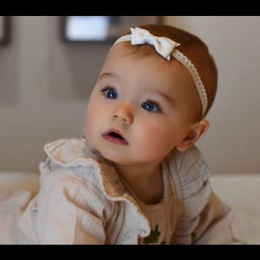 Your Little Miss Cinta para bebé recién nacido con lazo y encaje blanco