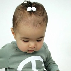 Your Little Miss White baby hair clips with bow