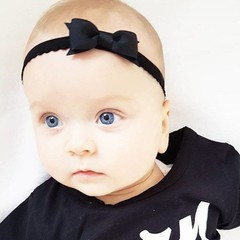 Your Little Miss Black newborn headband with lace band and bow