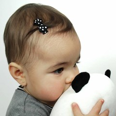 Your Little Miss Black baby hair clips with bow and polkadot