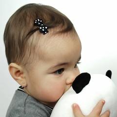 Your Little Miss Fermagli per neonate nero con fiocco e a pallini