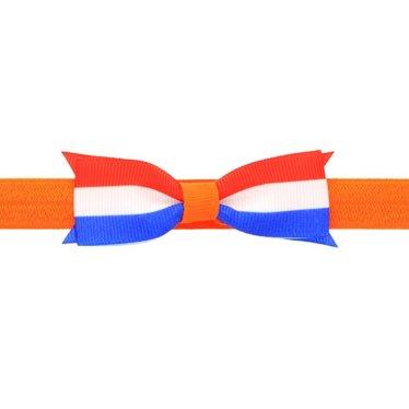 Your Little Miss Baby Haarband Königstag in orange mit rot, weiß und blau