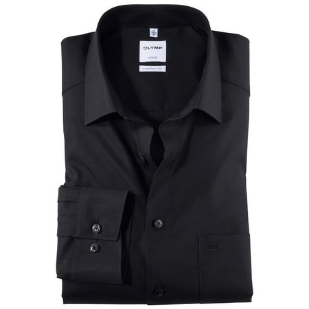 OLYMP Olymp Hemd langarm schwarz   grosse Grössen