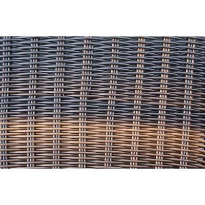 Dienblad rechthoek - incl. glasplaat - Bruin - Rond vlechtwerk