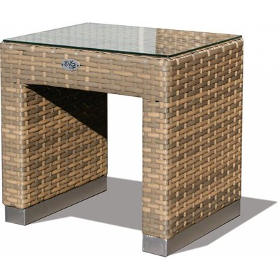 Bijzet tafel Boris - Cappuccino - Plat vlechtwerk