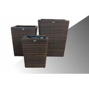 Bloembak Pompei - vierkant taps - Bruin - Rond vlechtwerk