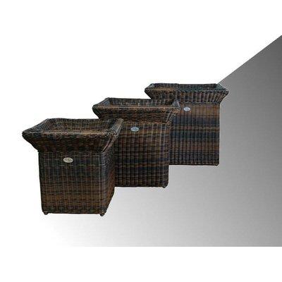 Bloembak Angelo - vierkant met rand - Bruin - Rond vlechtwerk - in meerdere  maten leverbaar