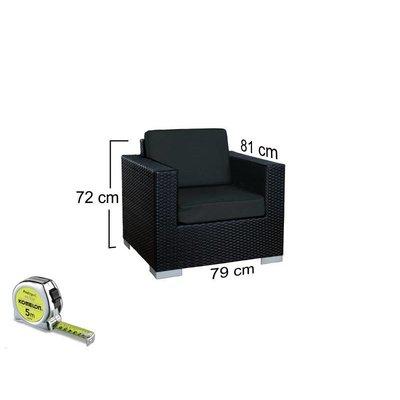 Loungeset Parijs 2111 - Zwart - Plat vlechtwerk