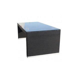 Tuintafel Athene XL - Zwart - Plat vlechtwerk