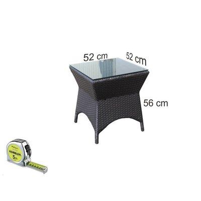 Bijzet tafel Napels II - Zwart - Plat vlechtwerk