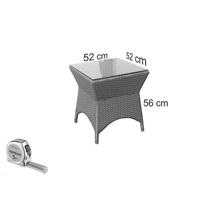 Bijzet tafel Napels II - Bruin - Rond vlechtwerk