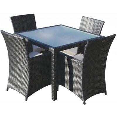Zwarte vlechtwerk tuinset Valetta I met Lissabon stoelen - Zwart - Plat vlechtwerk