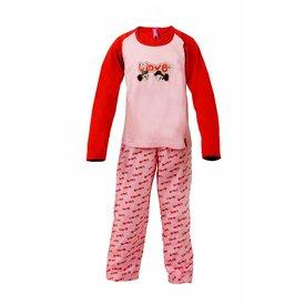 AnnaRebella AnnaRebella Meisjes Pyjama Roze-Rood PYM24001B