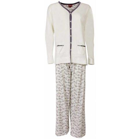 Medaillon Dames Pyjama doorknoop ziekenhuis Wit MEPYD1301A