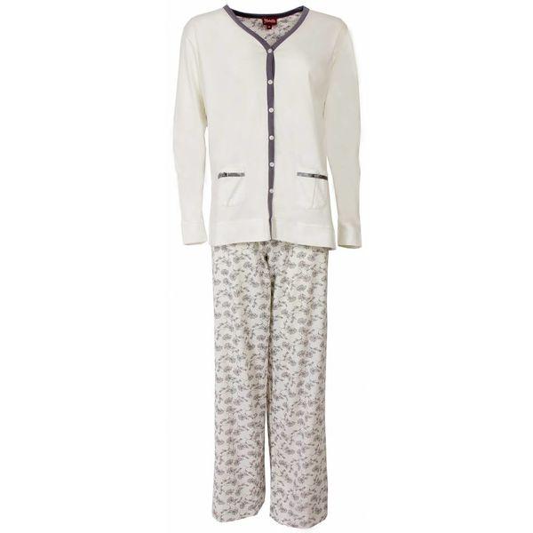 Medaillon Medaillon Dames Pyjama doorknoop ziekenhuis Wit MEPYD1301A