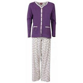 Medaillon Medaillon Dames Pyjama doorknoop ziekenhuis Paars MEPYD1301B