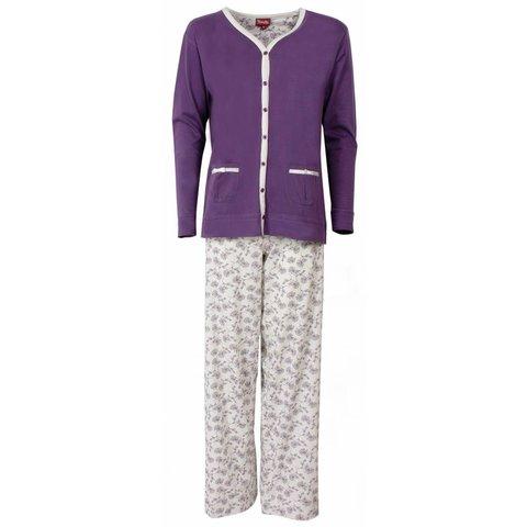 Medaillon Dames Pyjama doorknoop ziekenhuis Paars MEPYD1301B