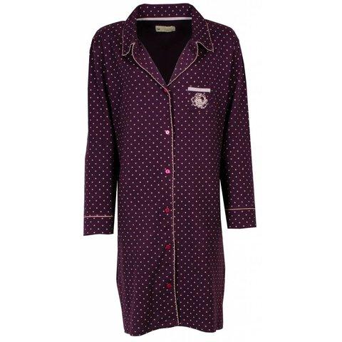 TENGD2403A Tenderness Dames Nachthemd Paars  doorknoop ziekenhuismodel.