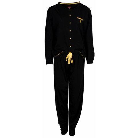 Medaillon Dames Pyjama doorknoop ziekenhuis Zwart MEPYD2401A