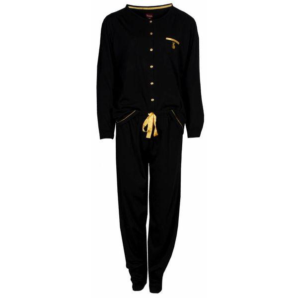 Medaillon Medaillon Dames Pyjama doorknoop ziekenhuis Zwart MEPYD2401A