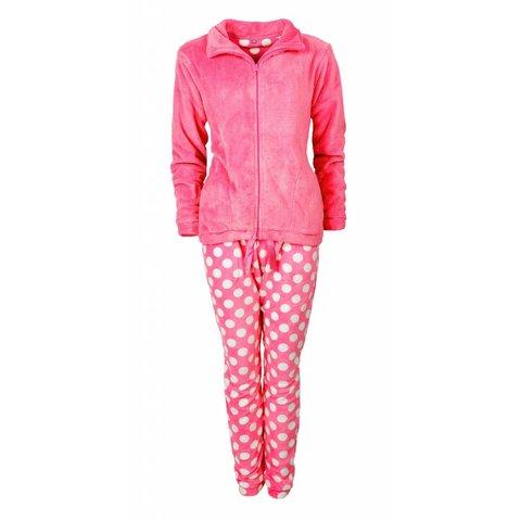 Dames huispak van zacht Coral Fleece met bolletjes print en rits. Pink H8-10