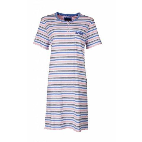 Dames nachthemd in meerkleurig strepen dessin. TENGD1711A-RM