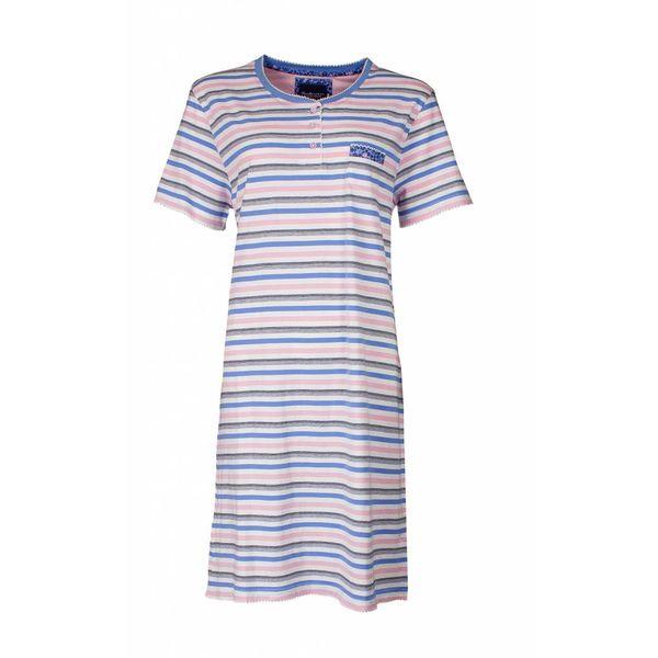 Tenderness Dames nachthemd in meerkleurig strepen dessin. TENGD1711A-RM