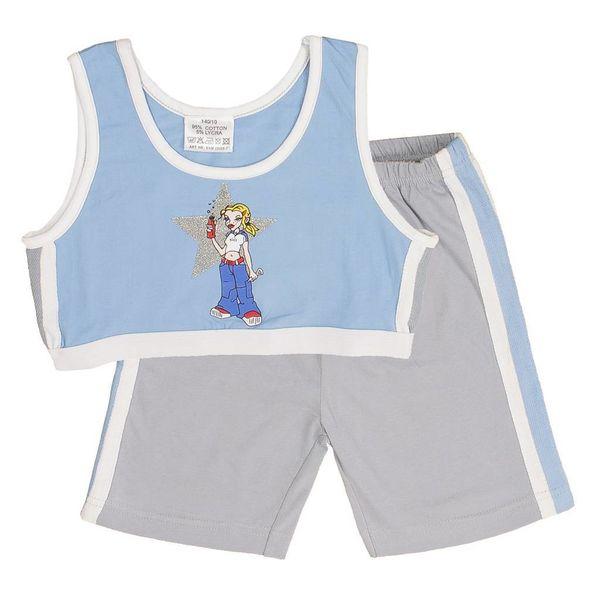 Bianco Blu Meisjes shortama ENM25008C-Blauw