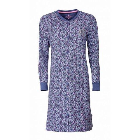 Tenderness Dames Nachthemd doorknoop ziekenhuis Blauw