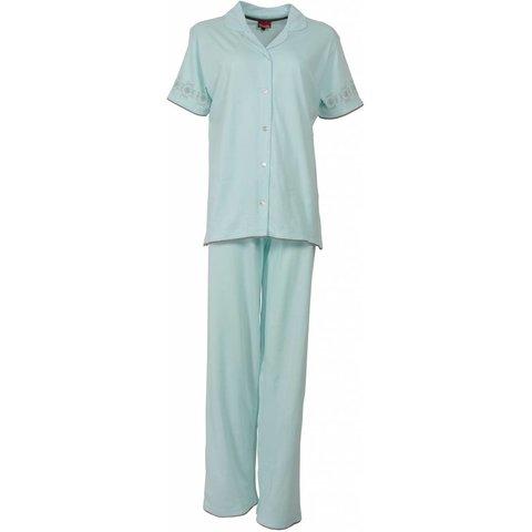 Medaillon Dames Pyjama doorknoop ziekenhuis Licht Blauw MEPYD1113A