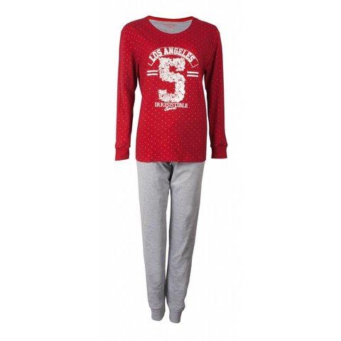 Irresistible Dames Pyjama Rood met zilver gestipte top.