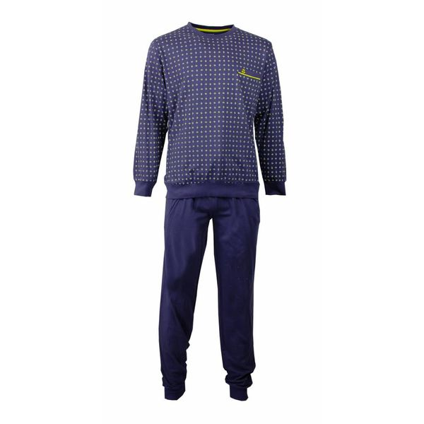 Paul Hopkins Paul Hopkins Heren Pyjama Blauw met detail in  Geel