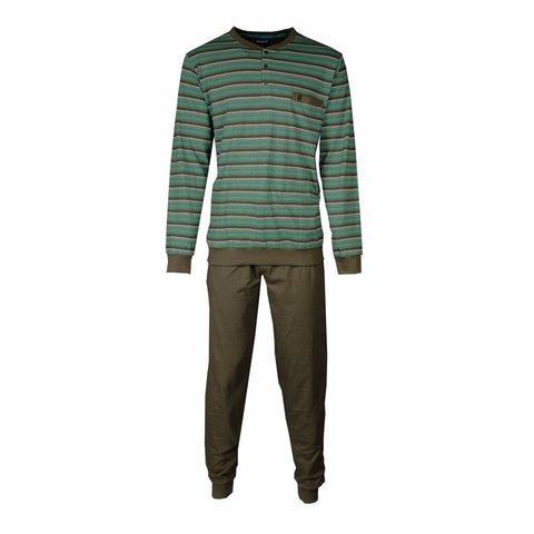 Paul Hopkins Heren Pyjama Streep Bruin - Groen