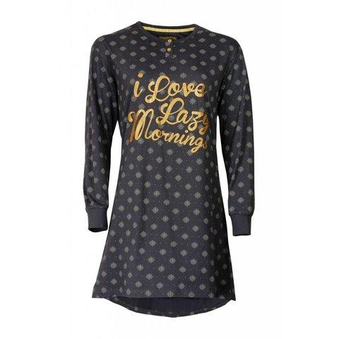 Irresistible Dames Nachthemd Grijs met Goudkleurige  print