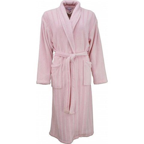 Tenderness dames badjas roze met ingeweven satijnen streep-BRD05111B
