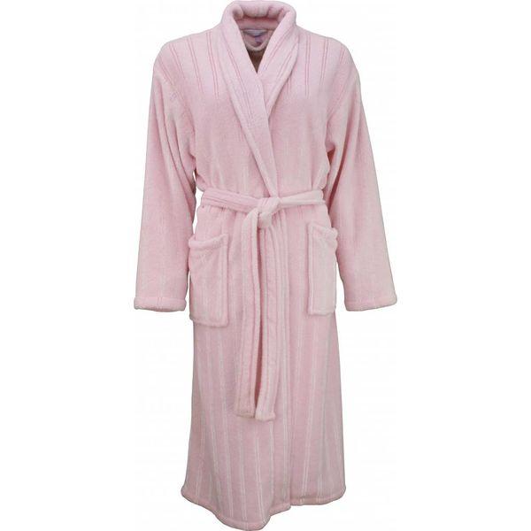 Tenderness Tenderness dames badjas roze met ingeweven satijnen streep-BRD05111B