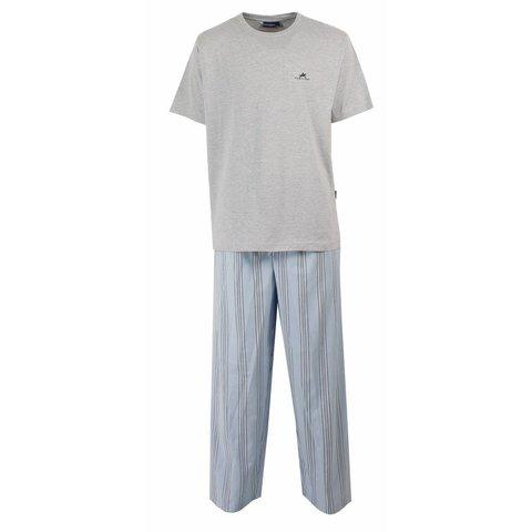 Paul Hopkins Heren Pyjama- Grijs - Blauw Gestreept PHPYH1208B