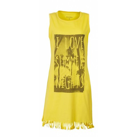 Irresistible Dames Nachthemd Geel met Franjes IRNGD1610B